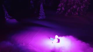 اسکی روی برف با استفاده از چراغ های ال ای دی LED در شب