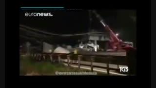 فرو ریختن پلی در ایتالیا بر اثر عبور بار ترافیکی به وزن ۱۰۰ تن